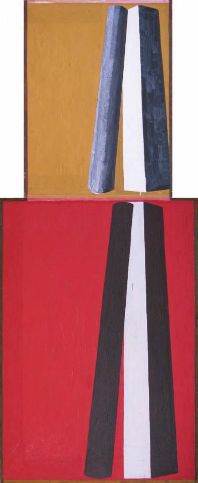1995, 226x90cm, tempera jajkowa na płótnie (dwa obrazy stoją na sobie) / egg tempera on canvas (two pictures stand on each other)